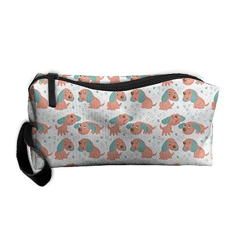 Kla Ju Portable Pencil Bag Purse Pouch Puppy Cartoon Stationery Storage Organizer Cosmetic Holder