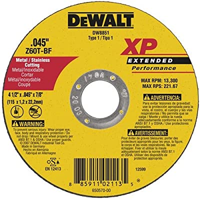 DEWALT DW8851B5 4-1/2-Inch by 0.45-Inch XP Metal Cutting Wheel, 7/8-Inch Arbor (5-Pack)