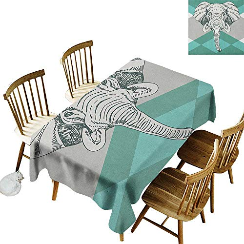 kangkaishi 3D Printed Long Tablecloth Desktop Protection pad Contemporary Image of Elephant Head with Minimalist Print Boho Style Modern Print W14 x L108 Inch Teal Grey ()