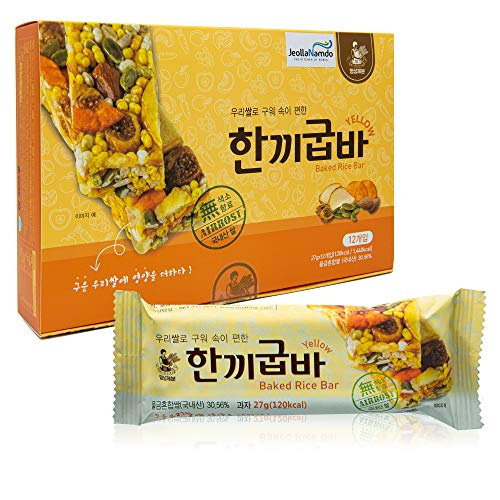 Baked Rice Snack Bar YELLOW [ Korean Snack ] Sunflower and Pumpkin Seed, Figs, Nuts, Quick Nutrition, Low Calorie Bar [ JRND Foods ] 12 Bars