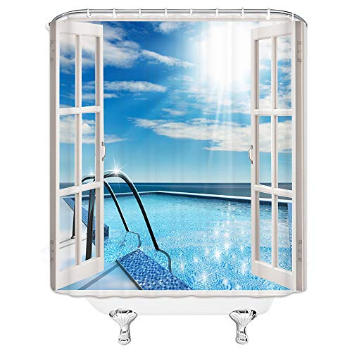 qianliansheji House Decor Collection, Architecture on Santorini Island Greece Swimming Pool Hotel Sea View Pattern, Polyester Fabric Bathroom Shower Curtain Set with Hooks, Blue White