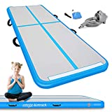 Cotogo Air Track Tumbling Mat Gymnastics Inflatable Airtracks Gym Mats with Electric Air Pump Home Indoor Workout Training Cheerleading Use