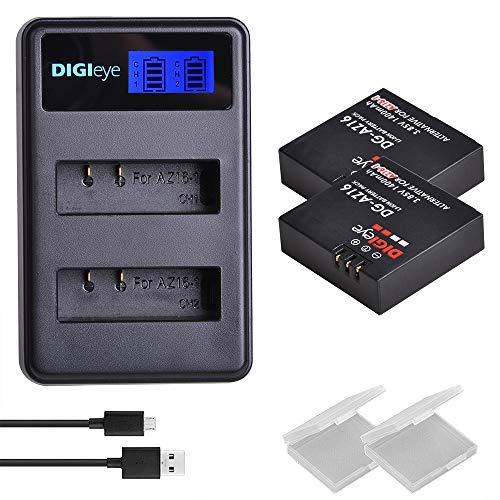 DIGIeye AZ16-1 Replacement Battery (2-Pack) and USB LCD Dual Charger for Xiaomi YI AZ16-1 and Xiaomi Yi 4K,Yi 4K+,Yi Lite,YI 360 VR Action Camera