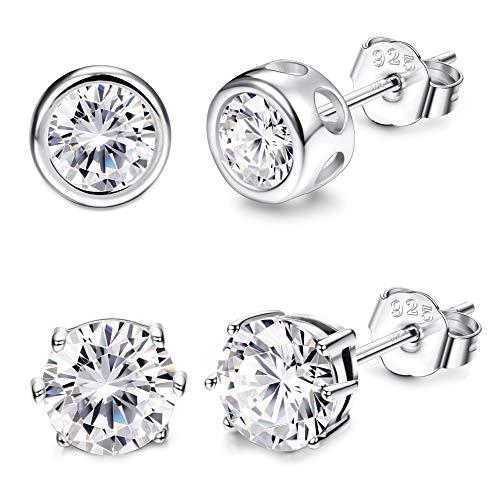 Sllaiss 925 Sterling Silver CZ Stud Earrings for Women Man Girls Cubic Zirconia Simple Basket Earrings Set Hypoallergenic Round 5mm 2 (Two Round Earring)