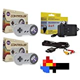 Video Game Accessories SNES Bundle- 2 Controllers, AC Adapter Power Cord & AV Cable (Super Nintendo)