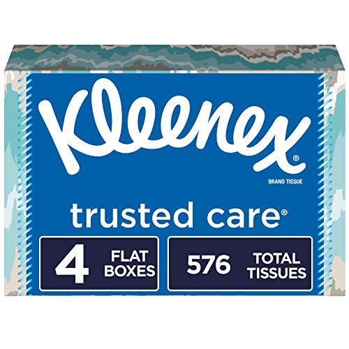 Kleenex Trusted Care Everyday Facial Tissues, 4 Rectangular Boxes, 144 Tissues per Box (576 Tissues Total), Packaging May Vary
