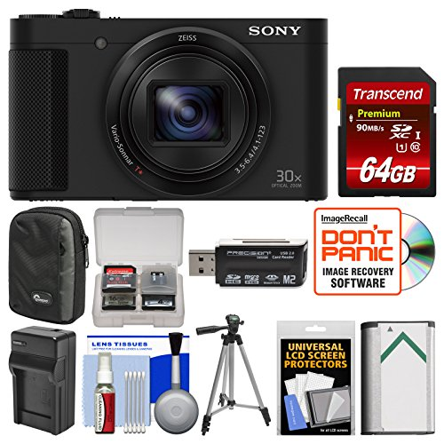 Sony Cyber-Shot DSC-HX80 Wi-Fi Digital Camera with 64GB Card + Case + Battery & Charger + Tripod + Kit