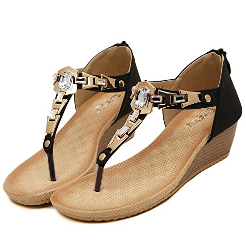 dqq de sangle cheville Sandal Wedge String femmes Noir w1rwnq5fx