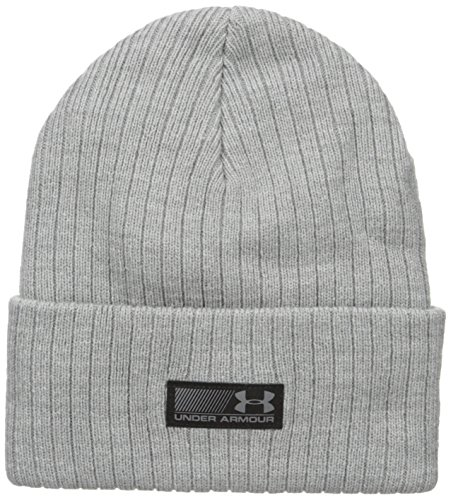 Under Armour Men's Truck Stop Beanie, True Gray Heather/Black, One Size
