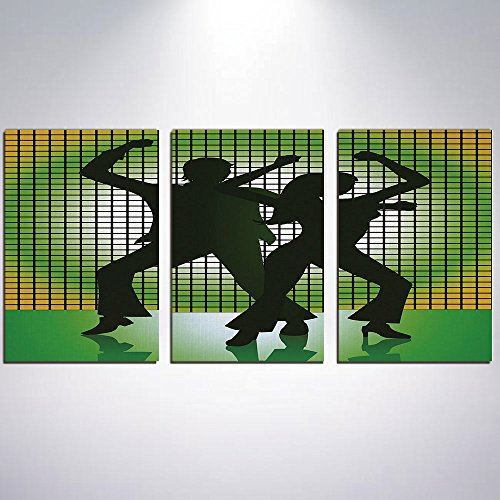 3 Panel Canvas Prints Wall Art for Home Decoration 70s Party Decorations Print On Canvas Giclee Artwork For Wall DecorSilhouette Illustration of Couple Dancing in Disco Decorative-Lig