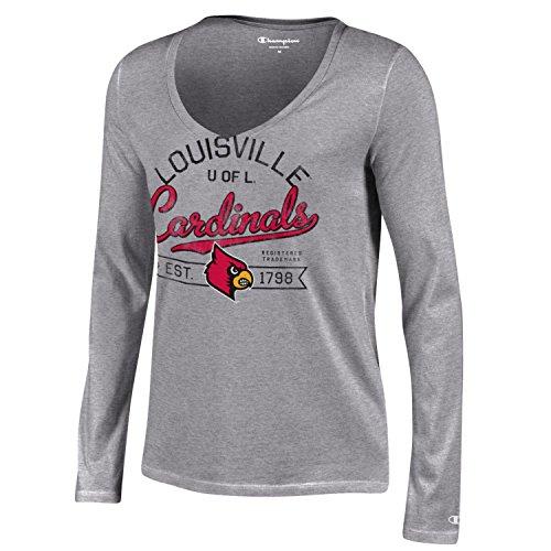 NCAA Louisville Cardinals Women's Champion University Long sleeve V-Neck T-Shirt, Large, Gray