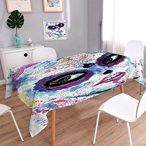 (Jiahonghome Natural Tablecloth Grunge Halloween Lady with Sugar Skull Make up Creepy Dead Face Gothic Woman Multi Colors &)