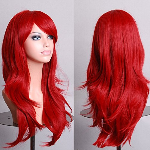 Womens/Ladies 70cm Red Color Long CURLY Cosplay/Costume/Anime/Party/Bangs Full Sexy Wig (Red Wig With Bangs)