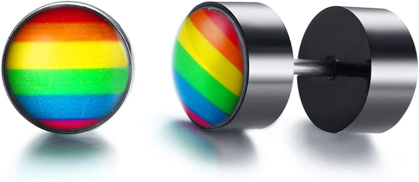 Ximi Jewelry Stainless Steel Gay Pride Lesbian LGBT Rainbow Stud Earrings for Mens Womens