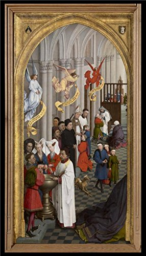 High Quality Polyster Canvas ,the Cheap But High Quality Art Decorative Art Decorative Prints On Canvas Of Oil Painting 'Rogier Van Der Weyden,Triptych Of The Seven Sacraments L,ca.1399-1464', 8x14 Inch (L'islam Et Halloween)