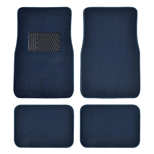 Blue Universal Floor Mat - BDK Classic Carpet Floor Mats for Car & Auto - Universal Fit -Front & Rear with Heelpad (Blue)