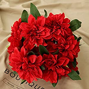 Homyu 10 Heads Dahlia Fake Flowers Artificial Dahlia Flowers Faux Flowers for Home Wedding Party Office Supplies (Red)