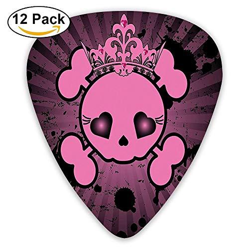 Cute Skull Illustration With Crown Dark Grunge Style Teen Spooky Halloween Guitar Picks 12/Pack Set