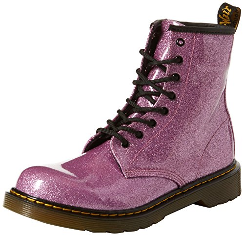 Dr. Martens Kid's Collection Girl's 1460 Patent Glitter Youth Delaney Boot (Big Kid) Dark Pink Coated Glitter 4 M UK -