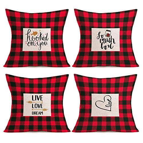 Asamour 4 Pack Throw Pillow Covers Red Black Buffalo Check Plaid Sweet Love Heart Burlap Farmhouse Decorative Cushion Cover Pillow Case 18''x18'' for Sofa Couch,Hooked on You,Live Love - Heart Plaid Pillow