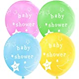 MOON AND STAR BABY SHOWER LATEX BALLOONS MIXED PACK OF 10