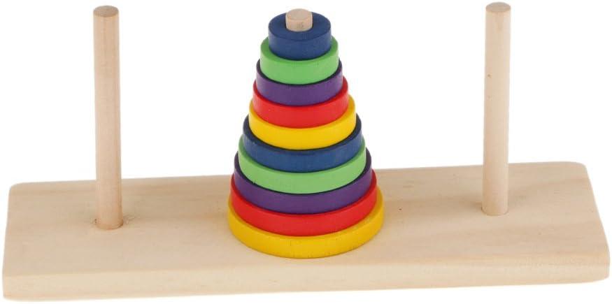FLAMEER 10 Piezas Torre Rompecabezas de Hanoi Juguetes Educativos de Multicolor para niños
