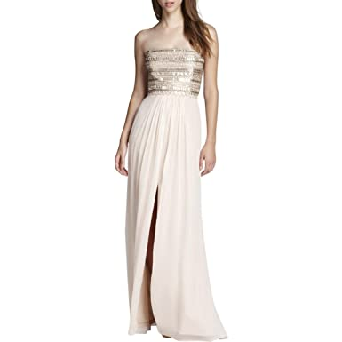 4a4b3e1f63b61 Aidan Mattox Women's Embellished Beaded Bodice Strapless Gown in Blush Pink  ...