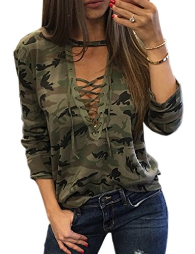 - Sexyshine Women's Camouflage Print Tops Bandage Deep V Low-Cut Lace-up Blouses Loose Long Sleeve T-Shirt(11877AG,XL)