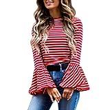 Stripe Blouse, Kimloog Women O-Neck Bell Sleeve Casual Ruffle Tops T-Shirts (L, Red)