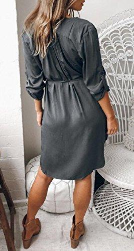 Jaycargogo Occasionnel Des Femmes De Plaine V Cou Manches Longues Robe Au-dessus Du Genou De Gris De Poche