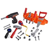 Click N' Play CNP01011 23-Piece Kids Pretend Play Real Working Toy Tool Set Includes Powered Drill, Hammer, Saw, Tape Measure, Tool Belt and Other Construction Accessories