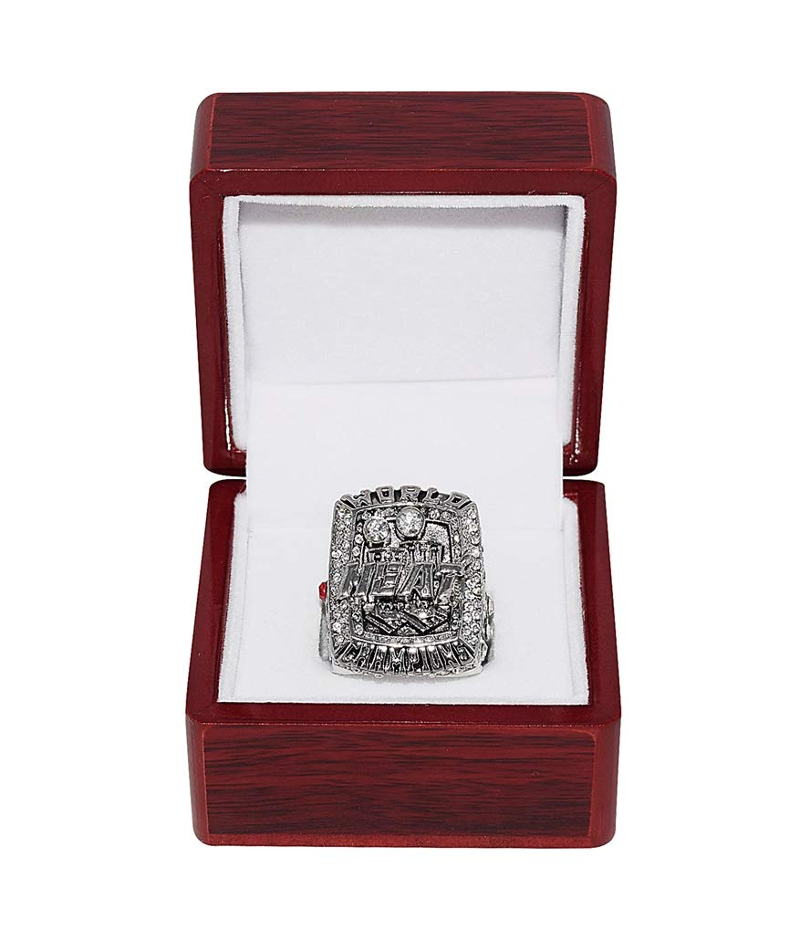 MIAMI HEAT (Lebron James) 2013 NBA FINALS WORLD CHAMPIONS (Back to Back Champs) Collectible High-Quality Replica NBA Basketball Silver Championship Ring with Cherrywood Display Box Trackside Autographs