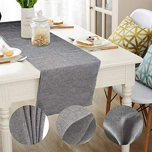 Gray Burlap Table Runners Imitated Linen Wrinkle-Free Tablecloth Farmhouse Centerpieces for Dining Room Table Wedding Birthday Party Decorations Home Decor 70