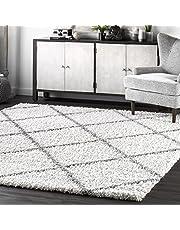 """nuLOOM Trellis Cozy Soft & Plush Shag Area Rug, 6' 7"""" x 9', White"""