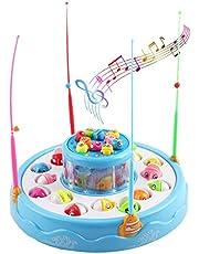 deAO Juego de Pesca Electrónico Rotatorio de Dos Niveles con Música y Luces - Incluye 4 Cañas y 26 Peces