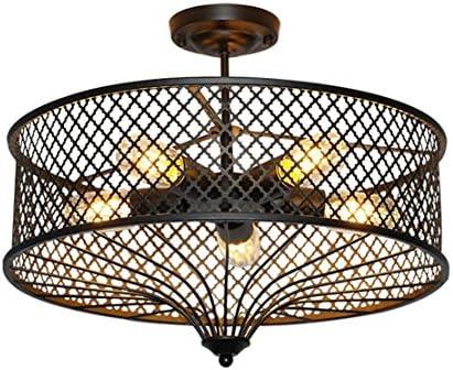 Rétro Industrie Plafonnier Créatif Vintage Design 5X E27 Luminaire Lampe De  Plafond Grenier Métal Cage Abat Jour Intérieur Pendentif Lustre Éclairage  Edison ...