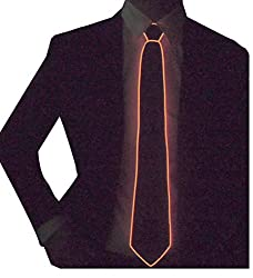 Black Micro Soild-orange Light LED Tie