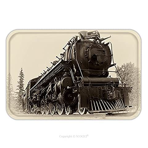 Flannel Microfiber Non-slip Rubber Backing Soft Absorbent Doormat Mat Rug Carpet A Or Northern Type Steam Train Engine Built By The Montreal Locomotive Works For 54114889 for - Echelon Echelon Shower Locker