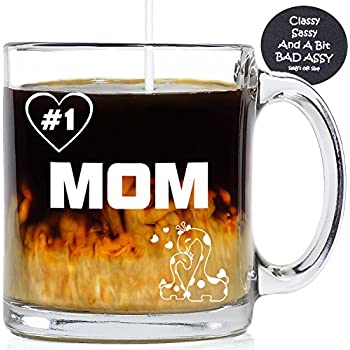 Funny Coffee Mugs Number 1 Mom 13 oz - Made In USA - Unique Gifts Idea For Birthday, Christmas - Include Fun Custom Cup Coaster