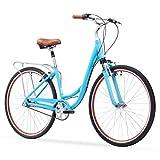 "sixthreezero Body Ease Women's 7-Speed Comfort Bike with Rear Rack, 26"" Wheels/ 17"" Frame, Teal, 17""/One Size"