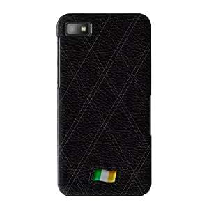 Stylish Black Leather Flag of Ireland abrigo lleno carcasa Blackberry Z10 de UltraFlags