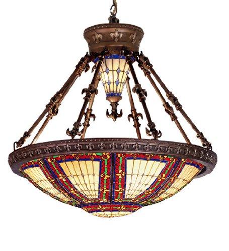 Meyda Custom Lighting 98983 Fleur-De-Lis Collection 6-Light Pendant, Mahogany Bronze Finish with Yellow, Blue and Red Stained Art - Billiard Glass Lamp Custom Stained