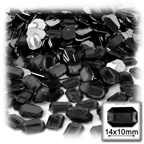 The Crafts Outlet 144-Piece Acrylic Aluminum Foil Flat Back Octagon Rectangle Rhinestones, 10 by 14mm, Jet Black