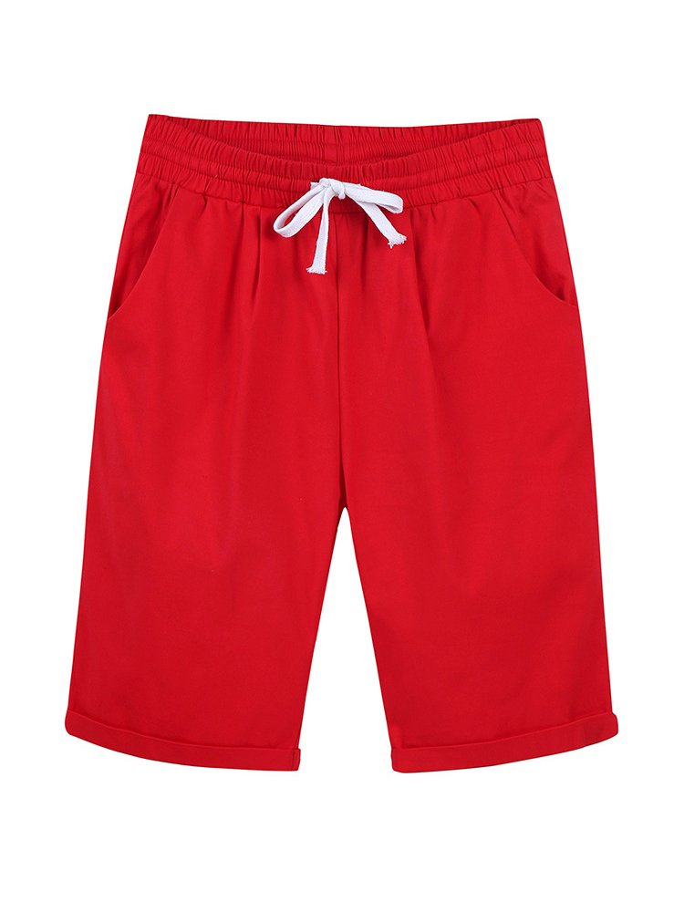 Gooket Women's Casual Elastic Waist Knee Length Curling Bermuda Shorts with Drawstring Red - XXL