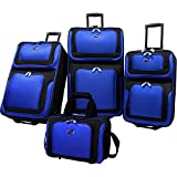 U.S Traveler New Yorker Lightweight Expandable Rolling Luggage 4-Piece Suitcases Sets - Blue