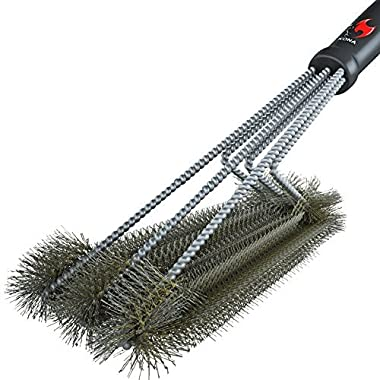 360° CLEAN GRILL BRUSH By Kona(TM) - 18  Best BBQ Grill Brush - 3 Stainless Steel Brushes In 1 Provides Effortless Cleaning - FREE 5 YEAR REPLACEMENT - Great BBQ Accessories Gift - Stiff Light Weight Design - Perfect For Weber, Char-Broil, Porcelain & Infrared Grills