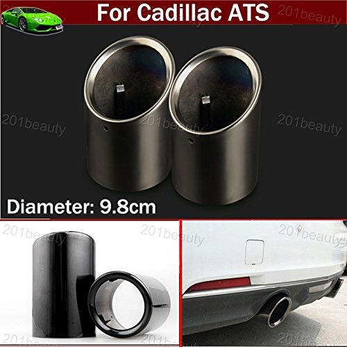 2pcs New Car Chrome Stainless Steel Exhaust Tail Pipe Tip Tailpipe Muffler Pretector Cover Trim Emblems Black Color Custom Fit For Cadillac ATS 2009 2010 2011 2012 2013 2014 2015 2016 2017 2018 ()