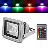 Fornorm 10W RGB LED Flood Light Spotlight Lamp with Remote Control Waterproof for Outdoor Garden Landscape AC 85-245V US Plug
