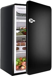Retro Compact Refrigerator, Safeplus 3.2 Cu.Ft Mini Fridge, Small Drink Food Storage Machine for Dorm, Garage, Camper, Basement or Office(Black)