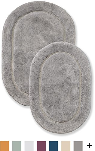 "SUPERIOR Peach Tree Bath Mats, 100% Combed Cotton, Oval, Non-Skid, 2-Pieces - STYLE: Densely packed loops on this unique pair are crafted from 100% combed cotton and will complement any bath décor; this set features a solid concentric oval pattern for a soft, toasty, underfoot massage; boasts a non-slip latex spray backing SIZE: This set includes 2-pieces of plush bath mats in two different sizes measuring 20"" x 30"" and 24"" x 36""; place one under the washbasin and the other outside the shower door; ideal sizes for your master bath, guest bath or powder room EASY CARE: Machine washable and colorfast; frequently used bath mat should be washed weekly; if it remains dampened due to repeated usage, hang over the towel rail to get enough dry-time between uses; refer to the care label for best results - bathroom-linens, bathroom, bath-mats - 51mD4qkVJ0L -"